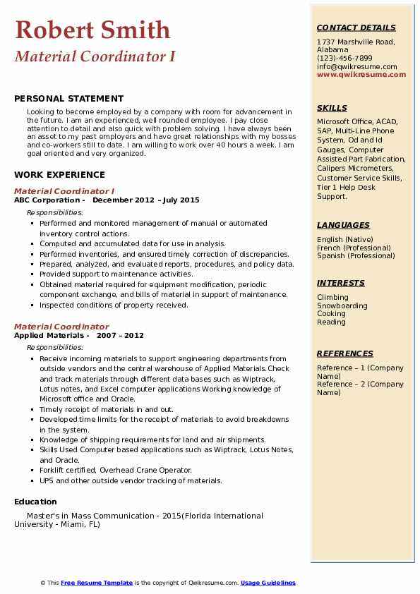 Material Coordinator Resume Samples | QwikResume
