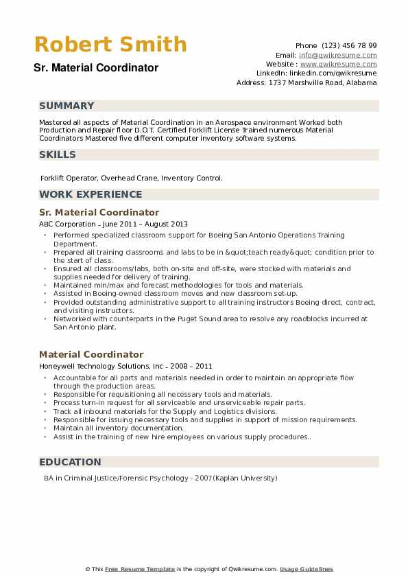 Sr. Material Coordinator Resume Model