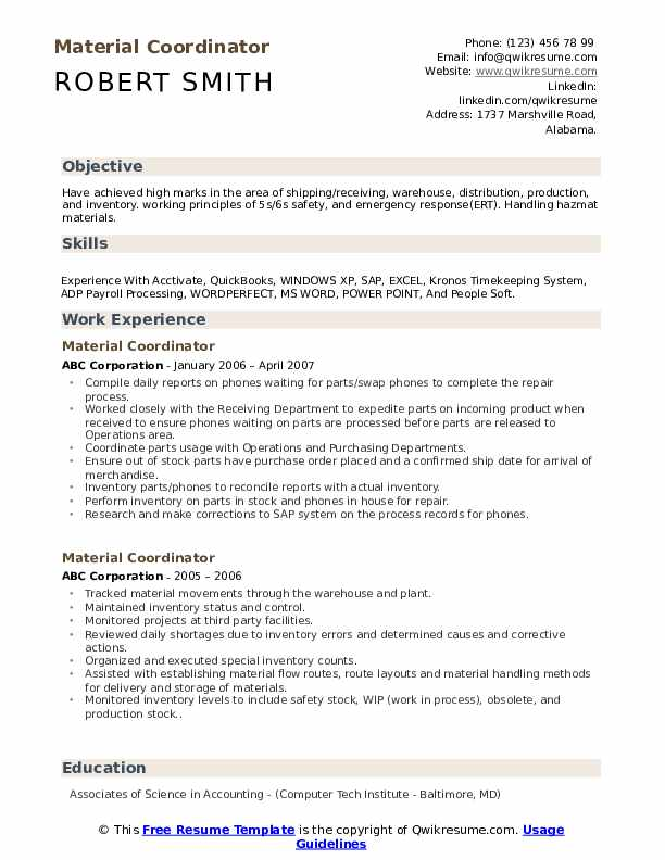 Material Coordinator Resume example