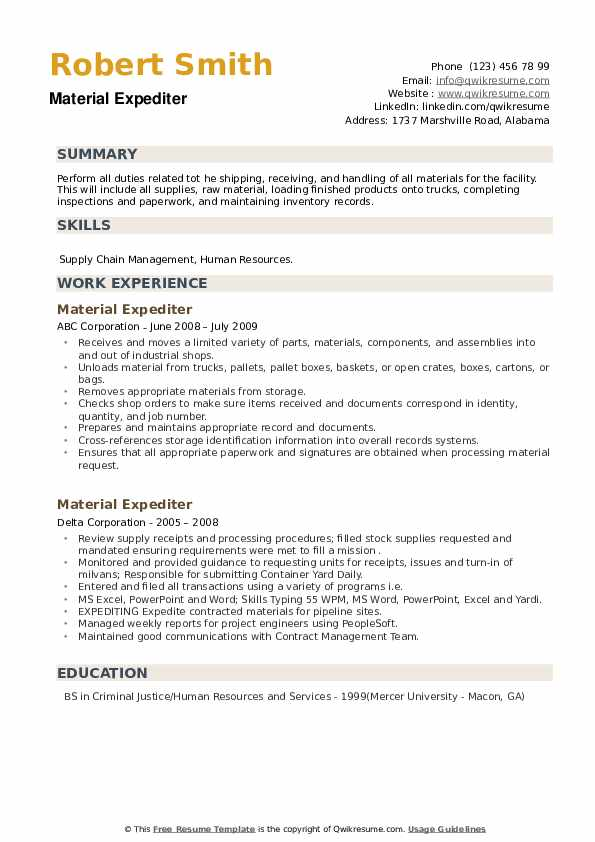 Material Expediter Resume example
