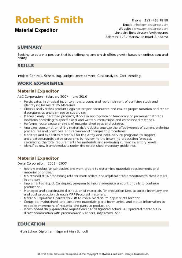 Material Expeditor Resume example