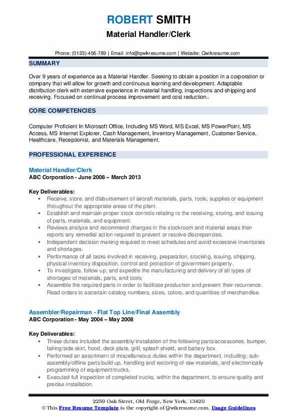 Material Handler/Clerk Resume Format