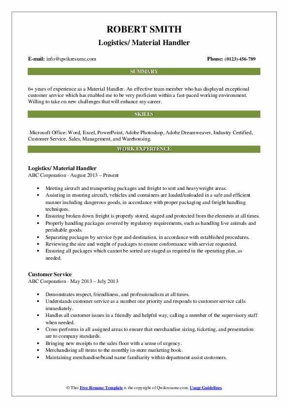 Logistics/ Material Handler Resume Template