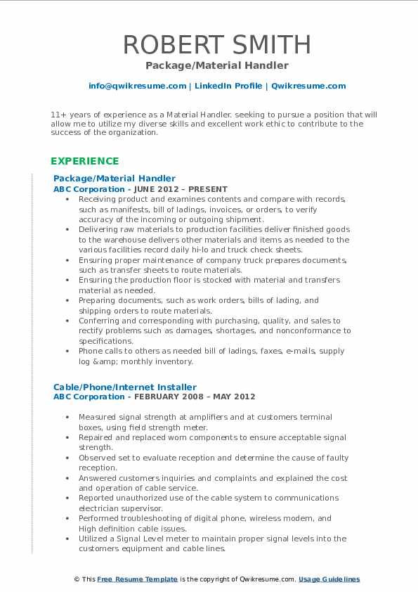 Material Handler Resume Samples Qwikresume