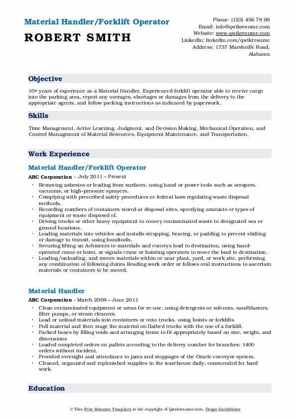 Material Handler Resume Samples Qwikresume