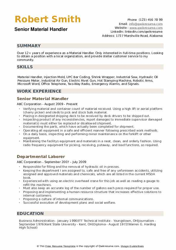 material handler resume samples