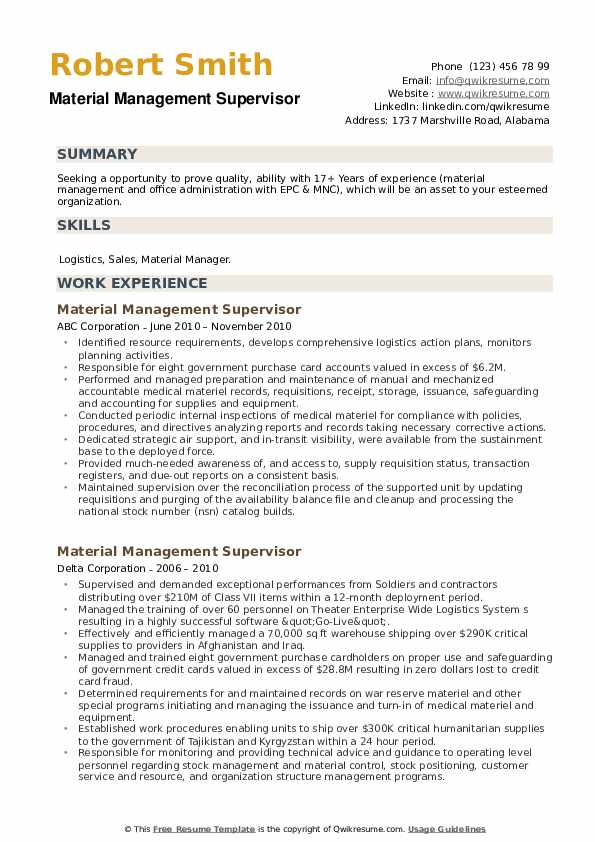 Material Management Supervisor Resume example