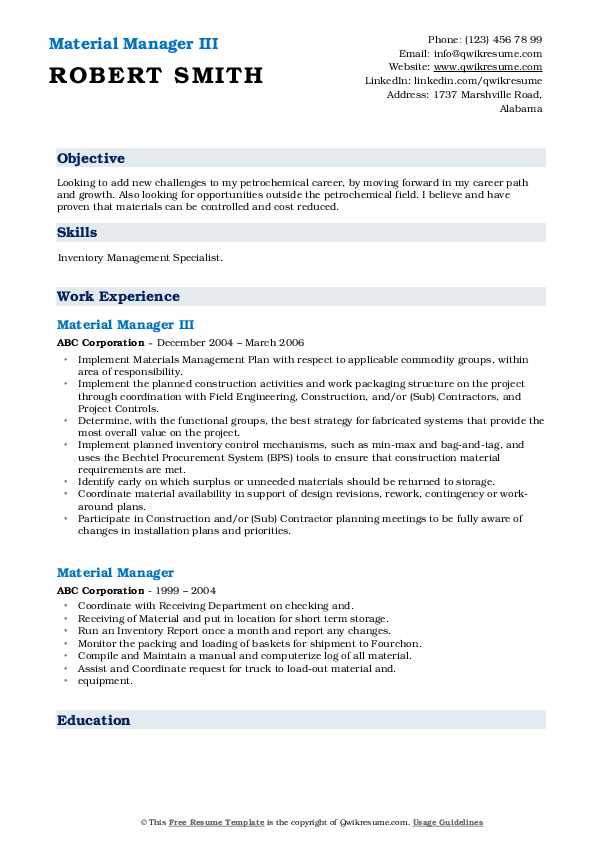 material manager resume samples