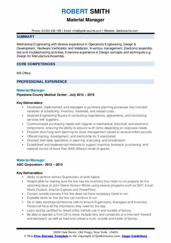 Material Manager Resume example