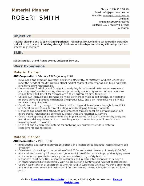 Material Planner Resume Format
