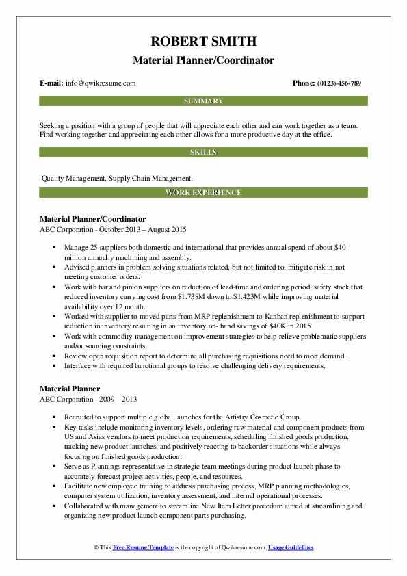 Material Planner/Coordinator Resume Sample