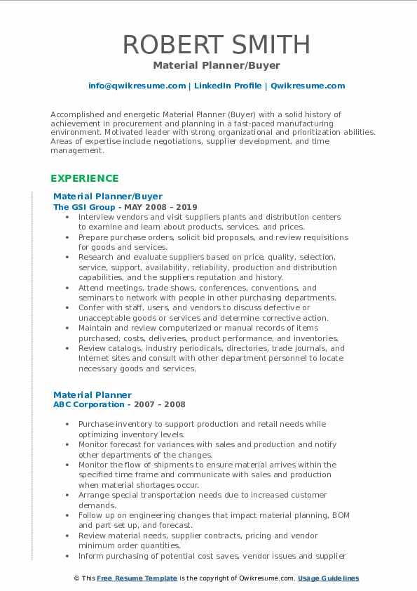Material Planner/Buyer Resume Template