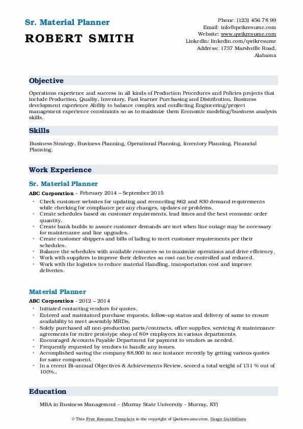 Sr. Material Planner Resume Sample