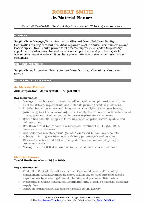 Jr. Material Planner  Resume Sample