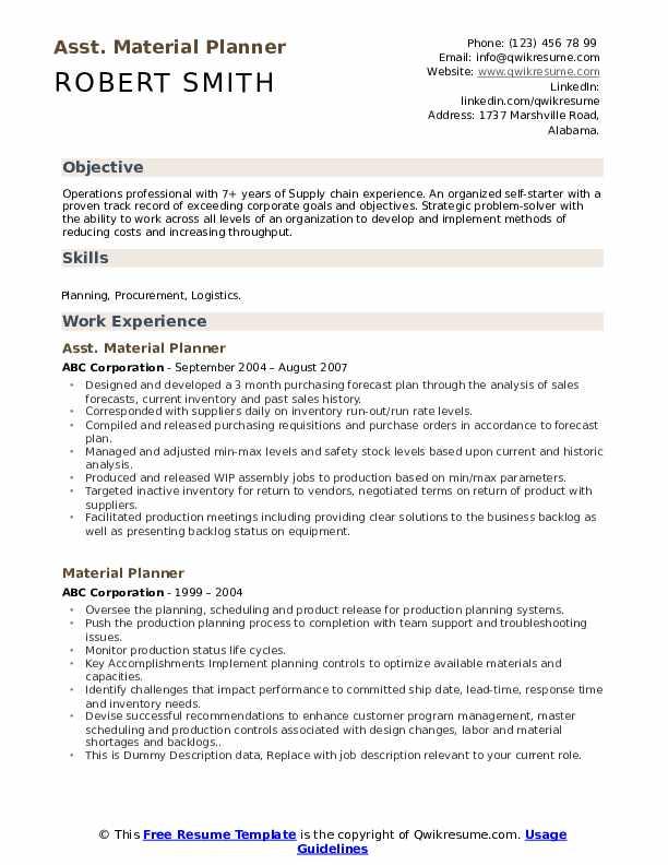 Asst. Material Planner Resume Format