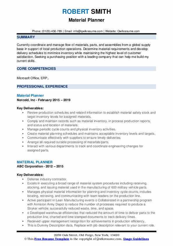 Material Planner Resume example