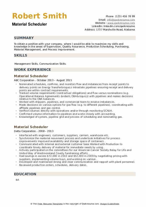 Material Scheduler Resume example