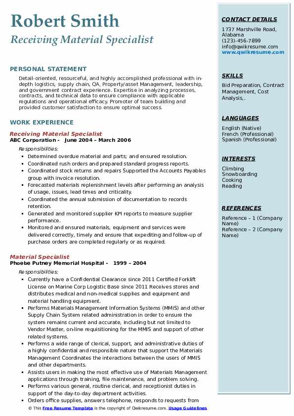 Receiving Material Specialist Resume Format