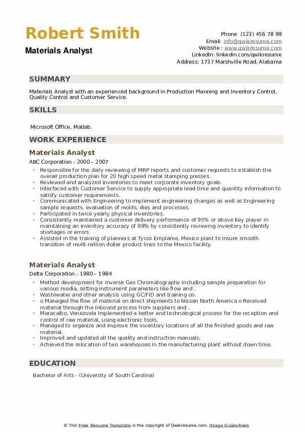 Materials Analyst Resume example
