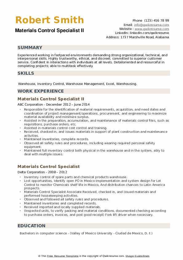 Materials Control Specialist Resume example