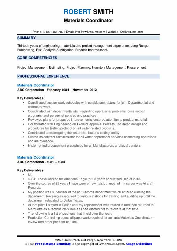 Materials Coordinator Resume Format