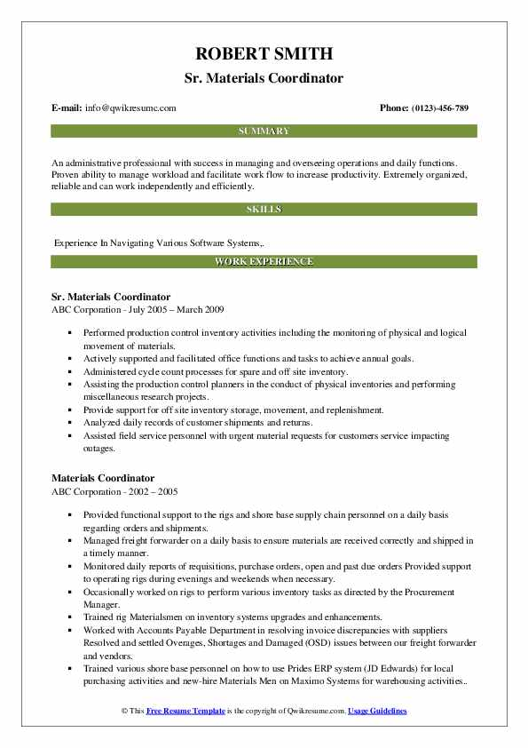 Sr. Materials Coordinator Resume Example
