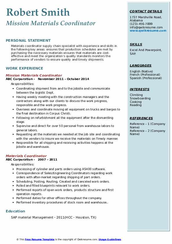 Mission Materials Coordinator Resume Sample