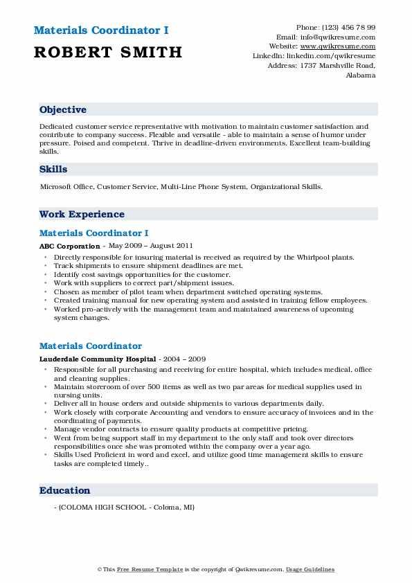 Materials Coordinator I Resume Format