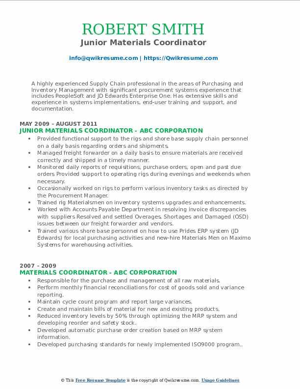 Junior Materials Coordinator Resume Example