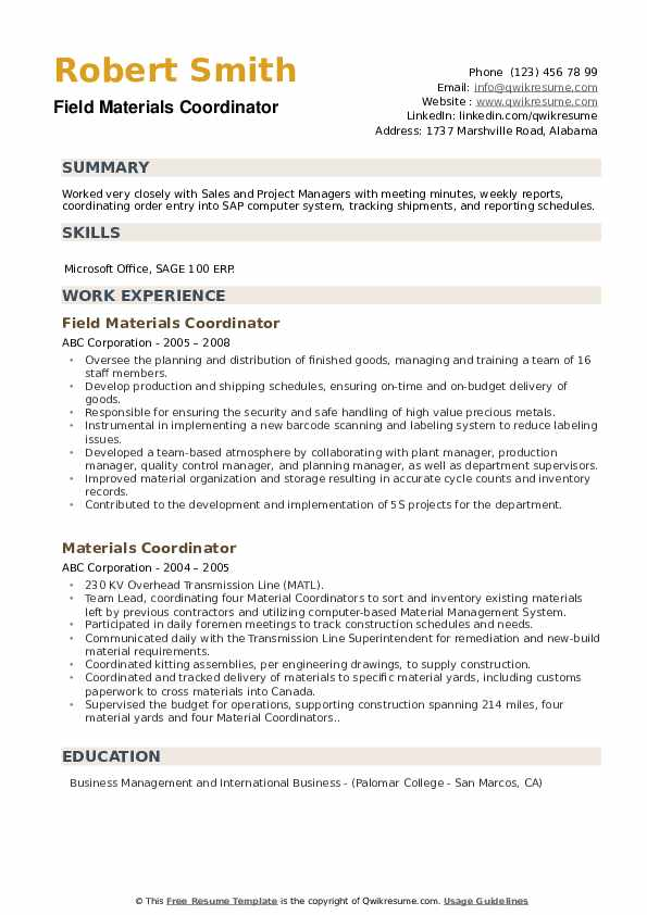 Field Materials Coordinator Resume Model