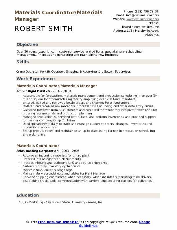 Materials Coordinator/Materials Manager Resume Sample