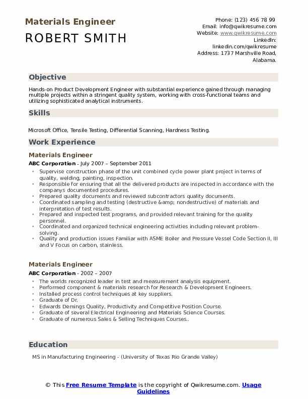 Materials Engineer Resume Format