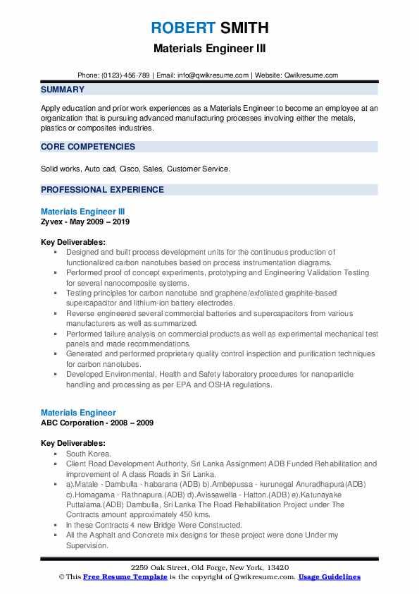 Materials Engineer III Resume Format