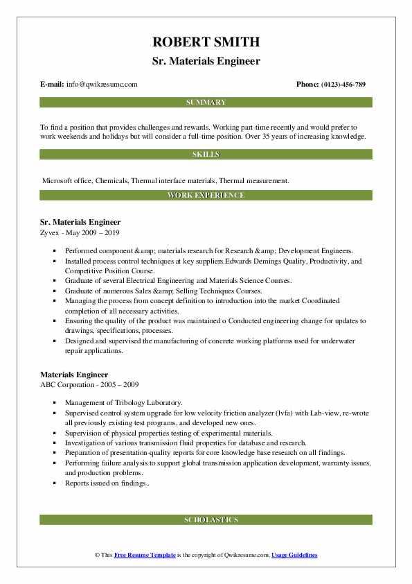 Sr. Materials Engineer Resume Format