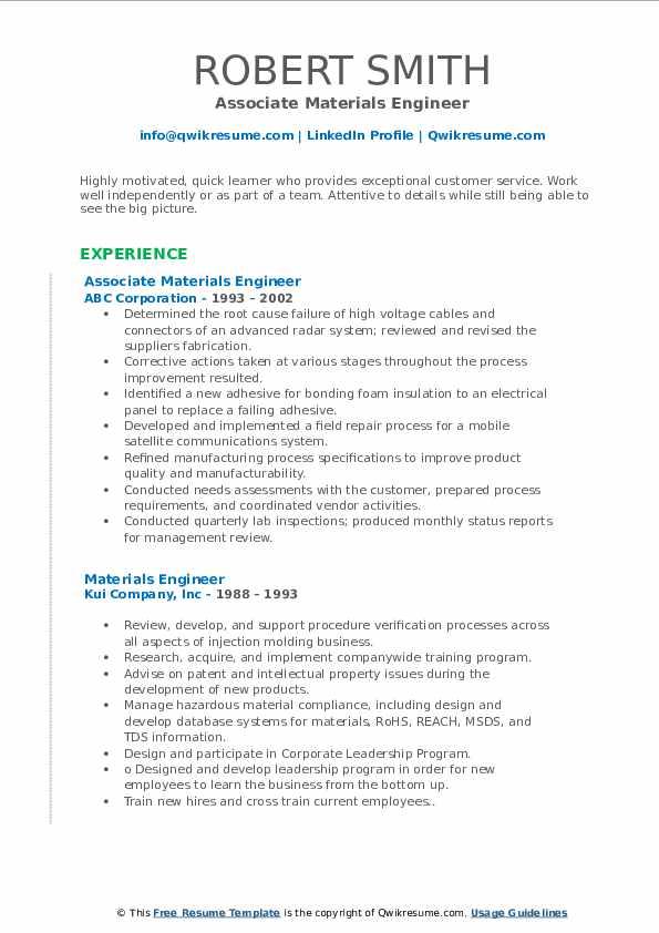 Associate Materials Engineer Resume Sample