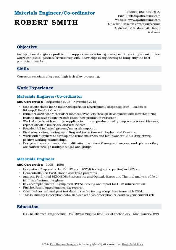 Materials Engineer/Co-ordinator Resume Format