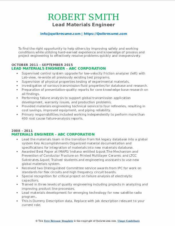 Lead Materials Engineer Resume Format