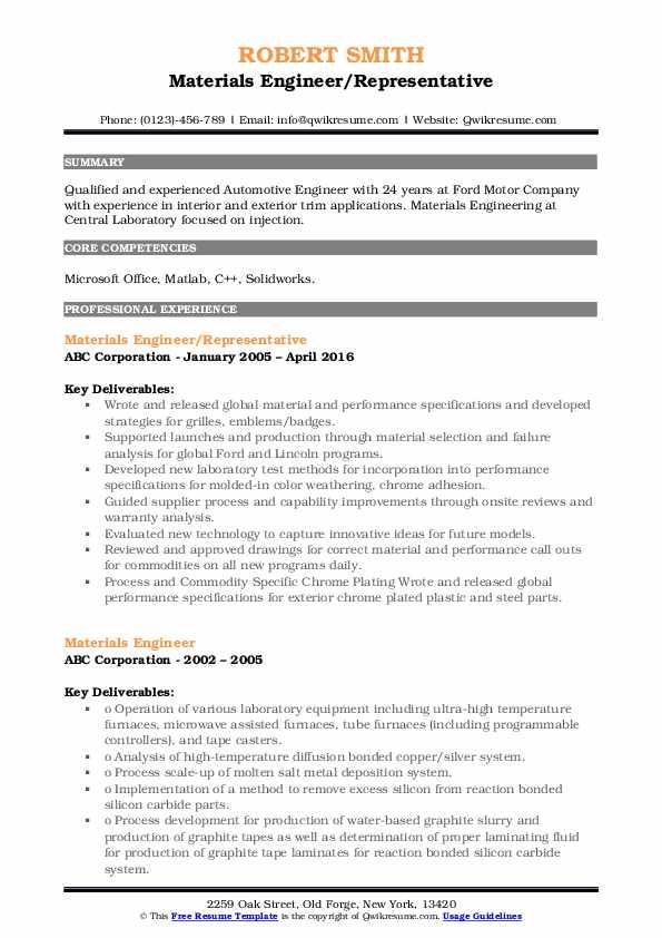 Materials Engineer/Representative Resume Format