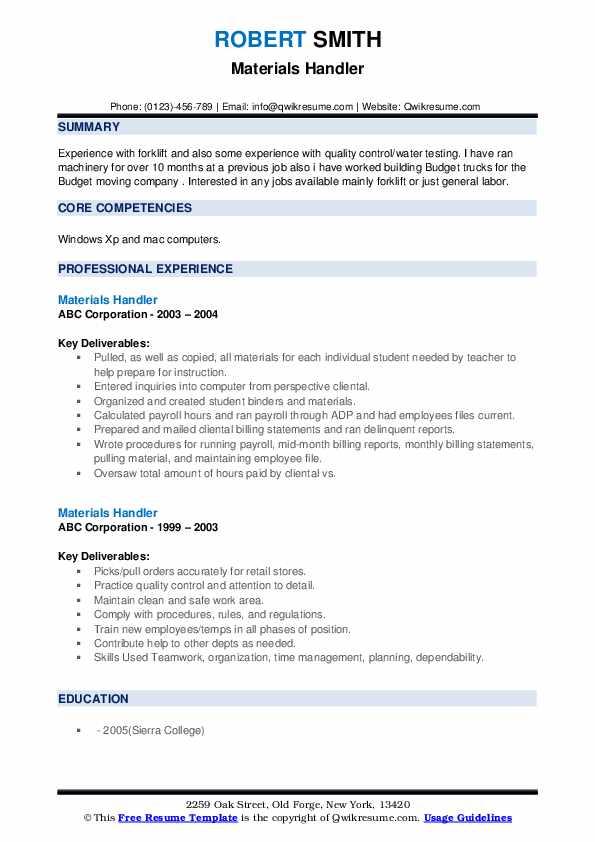 Materials Handler Resume example