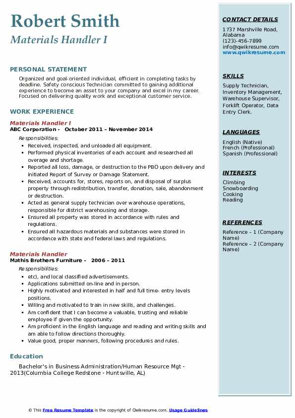 Supply Specialist Resume example