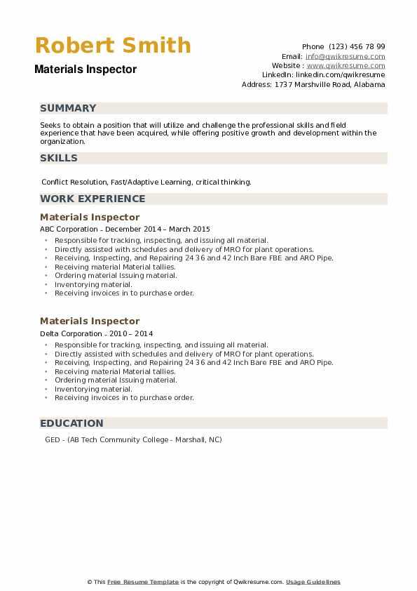 Materials Inspector Resume example