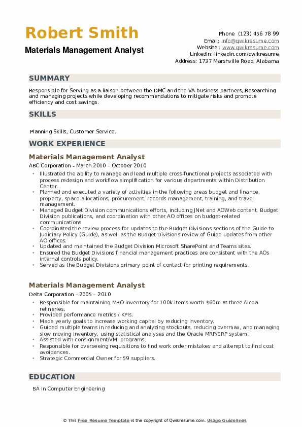 Materials Management Analyst Resume example