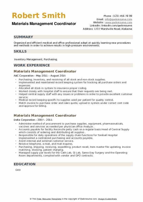 Materials Management Coordinator Resume example