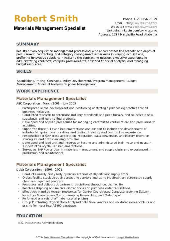 Materials Management Specialist Resume example