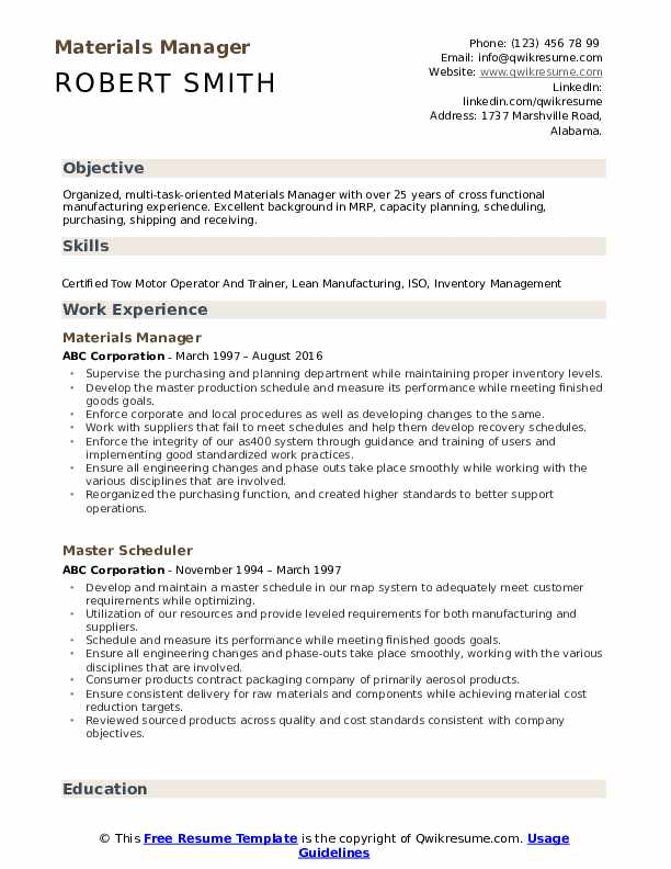 Materials Manager Resume Template