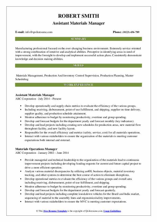 Assistant Materials Manager Resume Sample