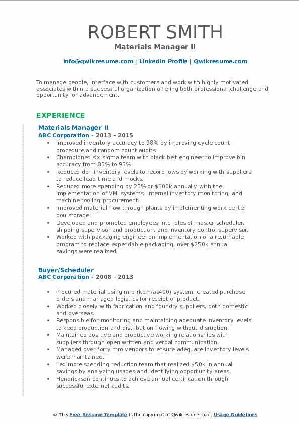 Materials Manager II Resume Sample
