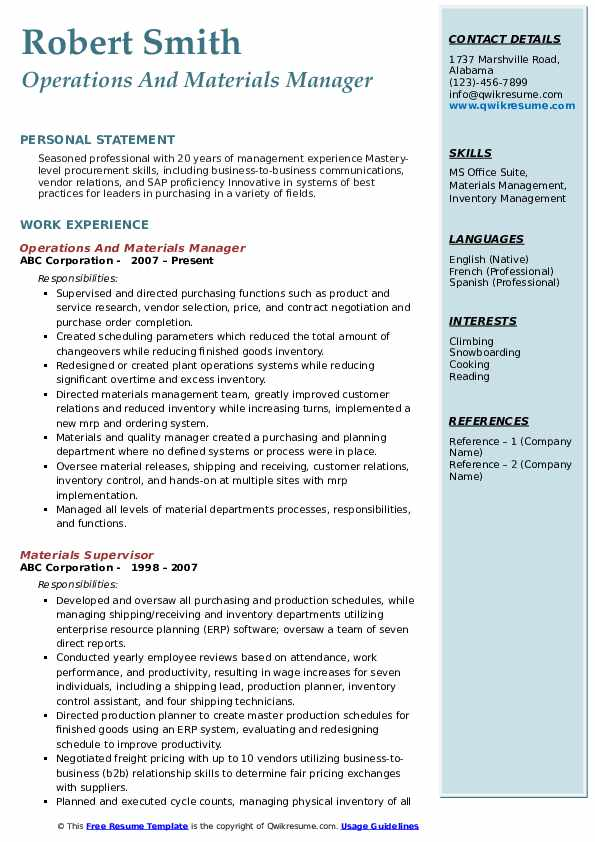 Operations And Materials Manager Resume Sample