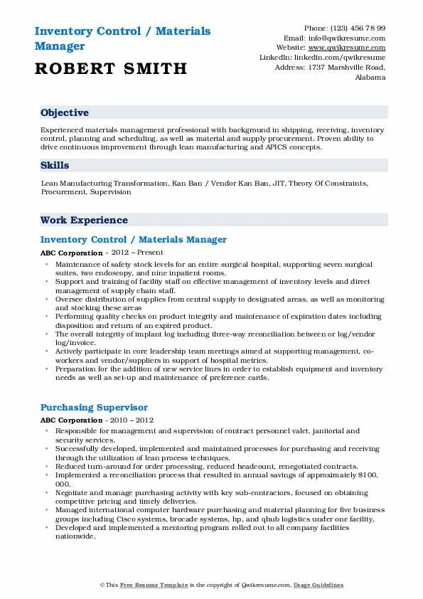 Inventory Control / Materials Manager Resume Format