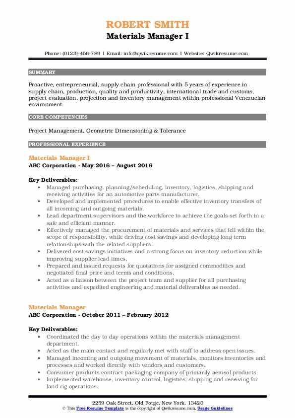 Materials Manager I Resume Model